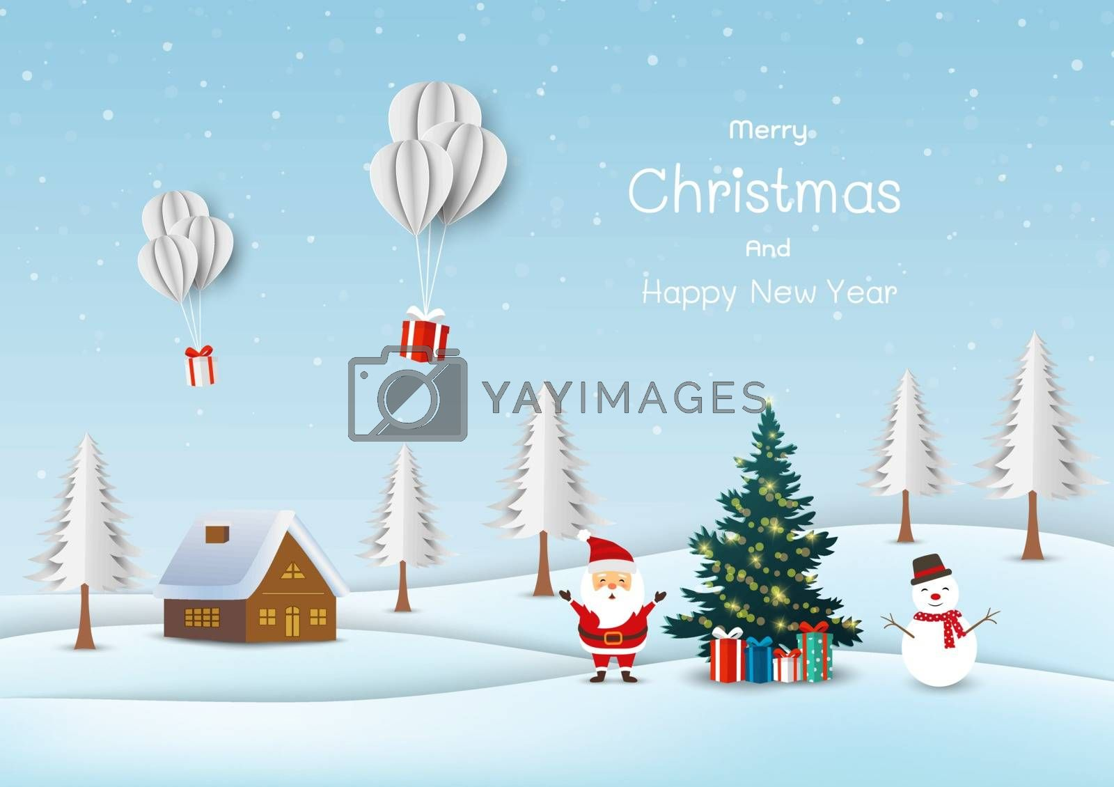 Merry Christmas and happy new year greeting card,cute Santa claus with snowman happy on snow village background by PIMPAKA