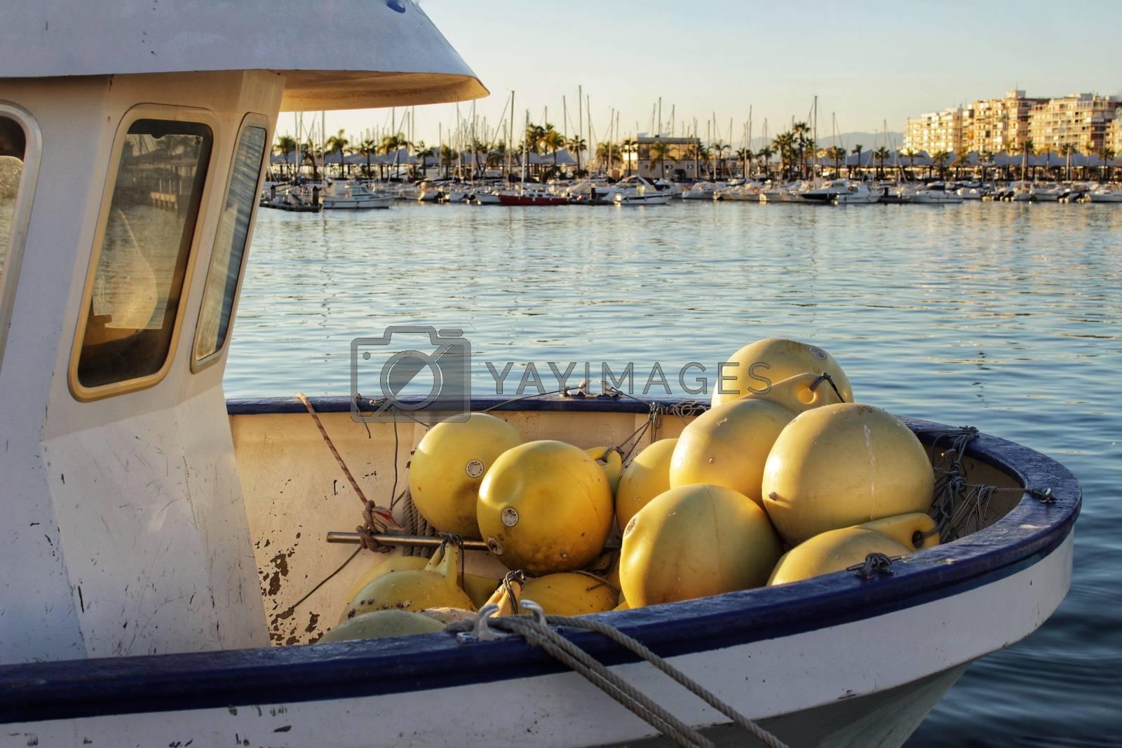 Boats moored in the port of Santa Pola, Alicante. Spain.