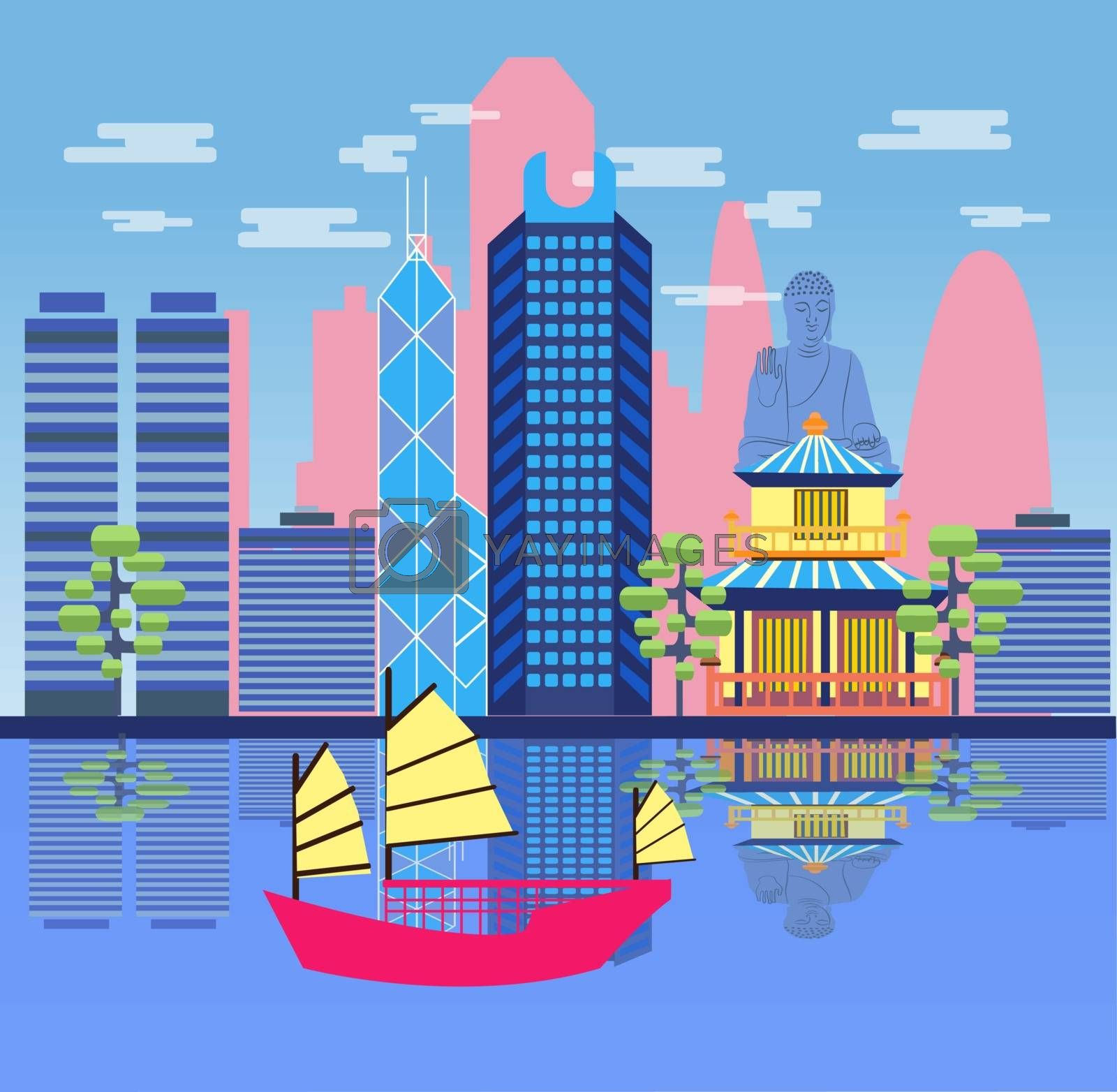 Travel skyline harbour with tourist junk. Attractive Hong Kong travel concept poster design. Vector illustration in cartoon style.