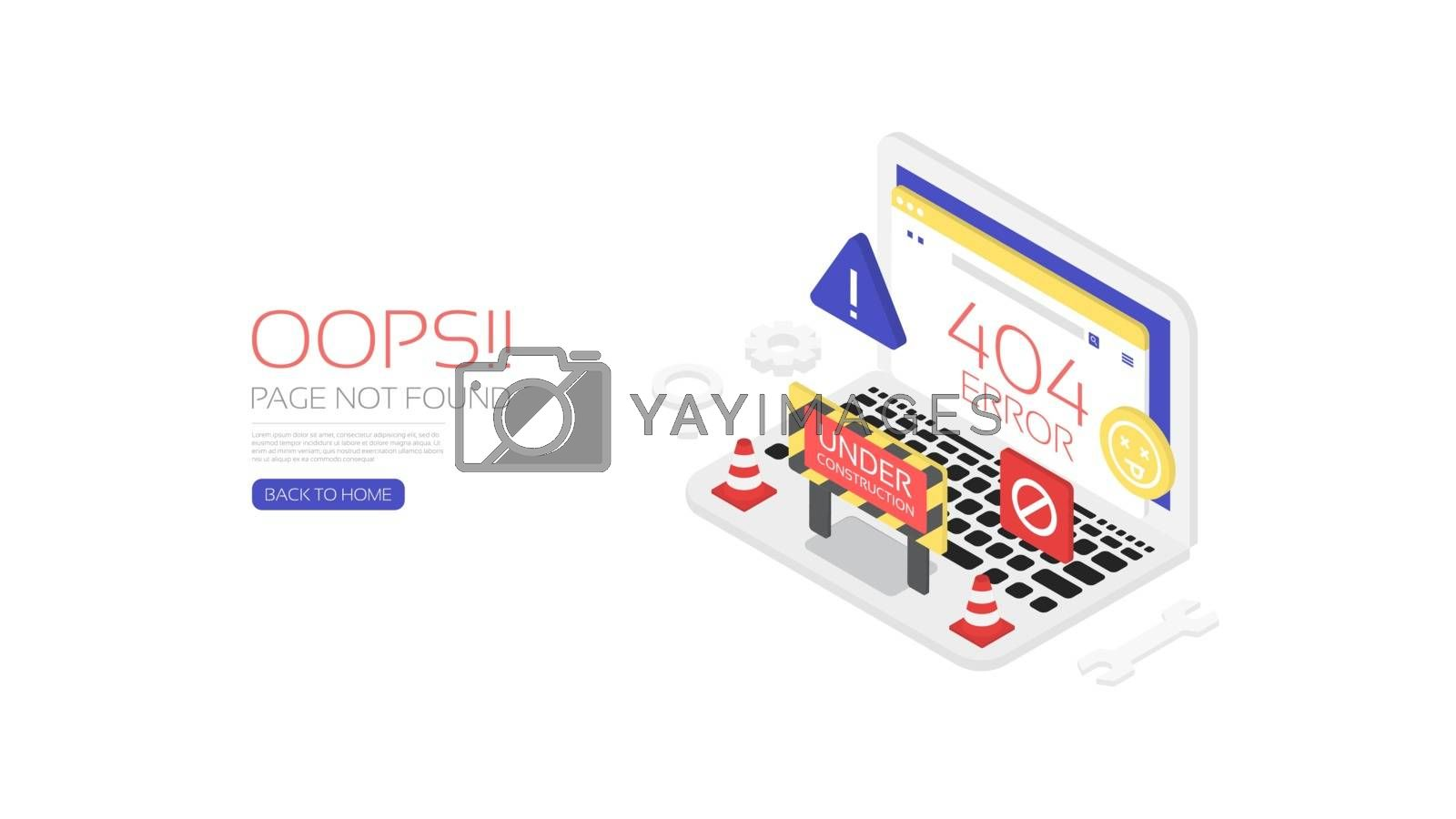 404 error page, template for website,  isometric style