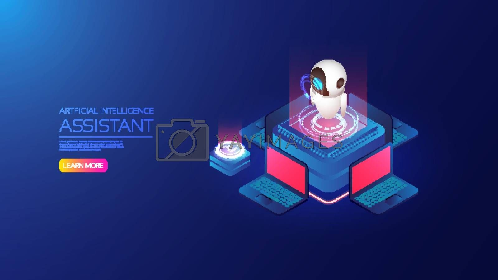 Isometric artificial intelligence, ai analysis with computer