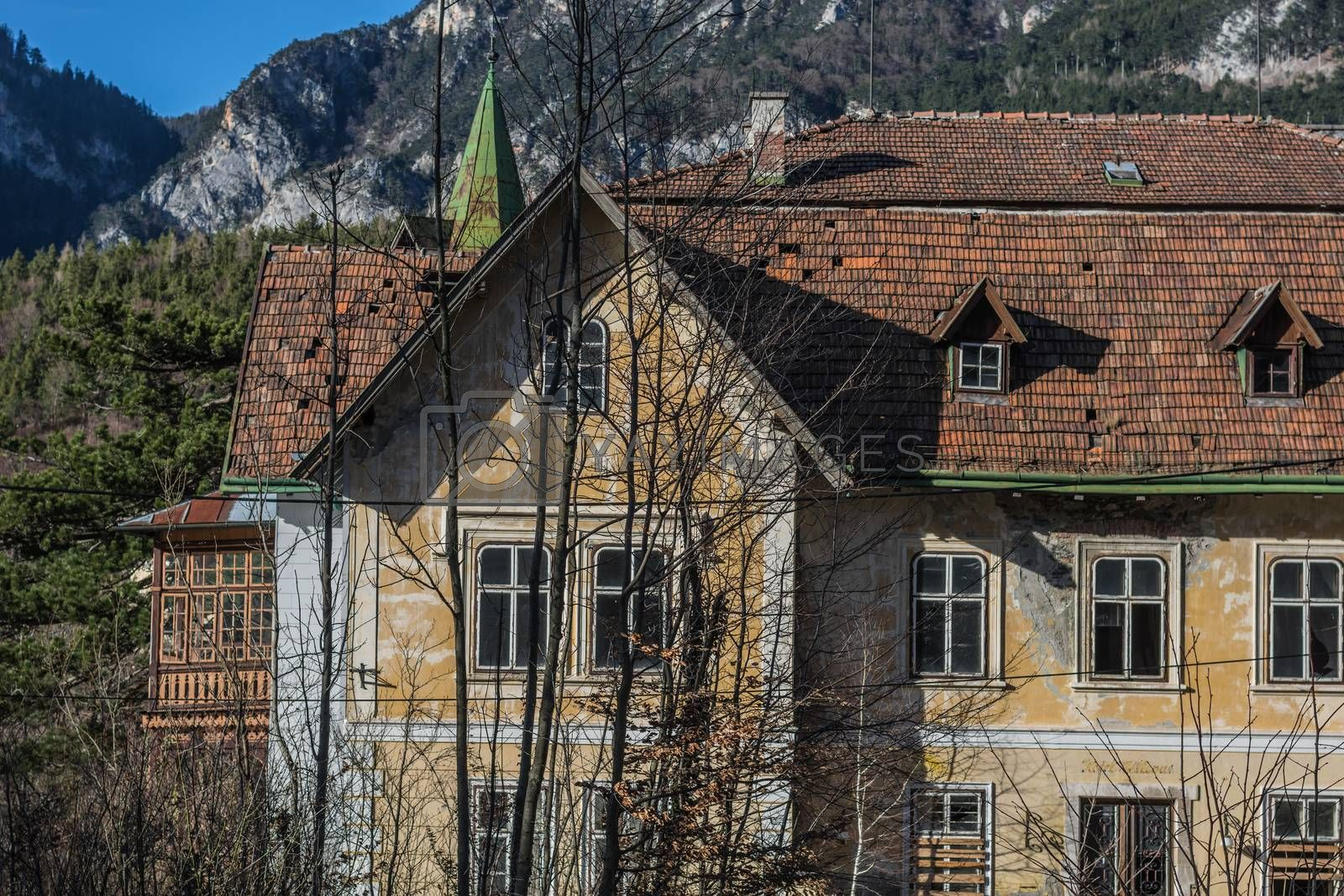beautiful abandoned building of a hotel in the mountains