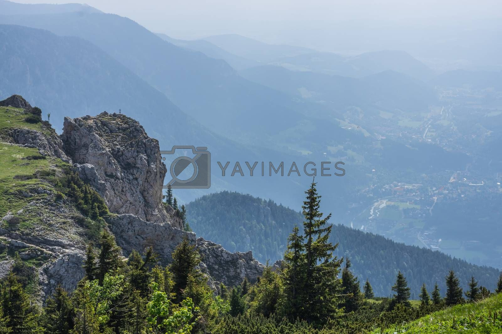 high rocks in the mountains while hiking in summer