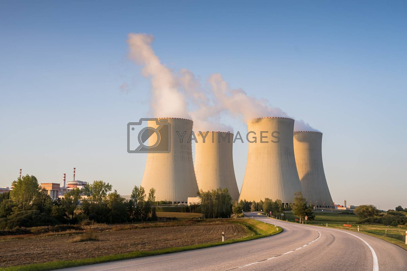 Royalty free image of Nuclear Power Plant Temelin in South Behemia Czech Republic in autumn, photo with road in foreground by petrsvoboda91