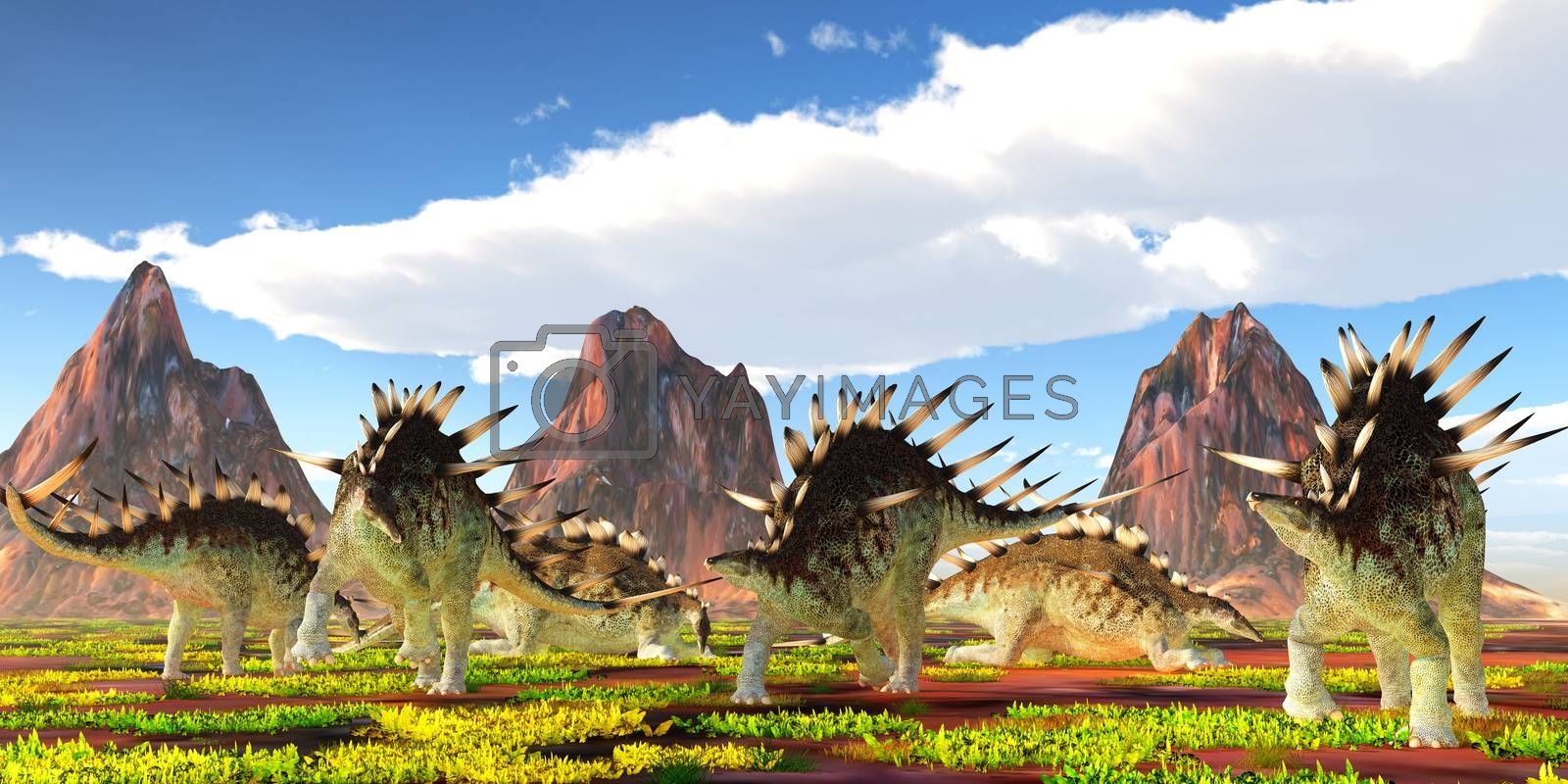 A herd of Kentrosaurus herbivorous dinosaurs feed and rest under nearby mountains during the Jurassic Period of Tanzania.