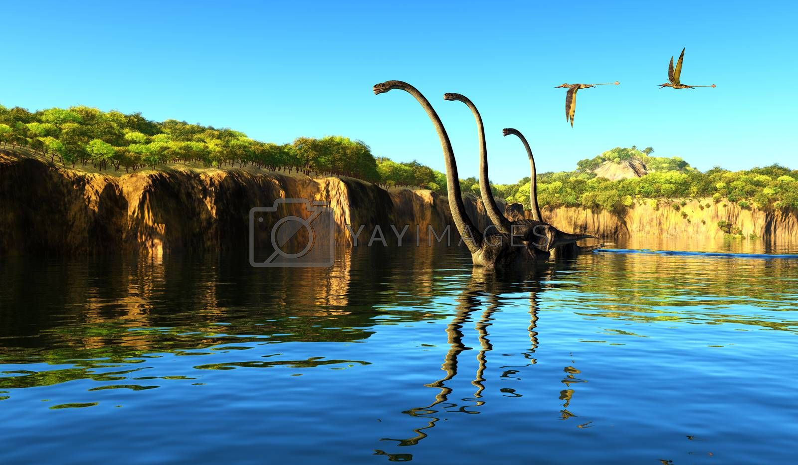 Omeisaurus dinosaurs wade through a river to munch on tree foliage as Rhamphorhynchus reptiles fly nearby.