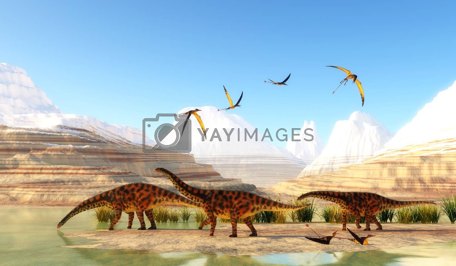 Rhamphorhynchus Pterosaurs rest on a sandbank as a herd of sauropod Spinophorosaurus dinosaurs come to drink from a swamp.