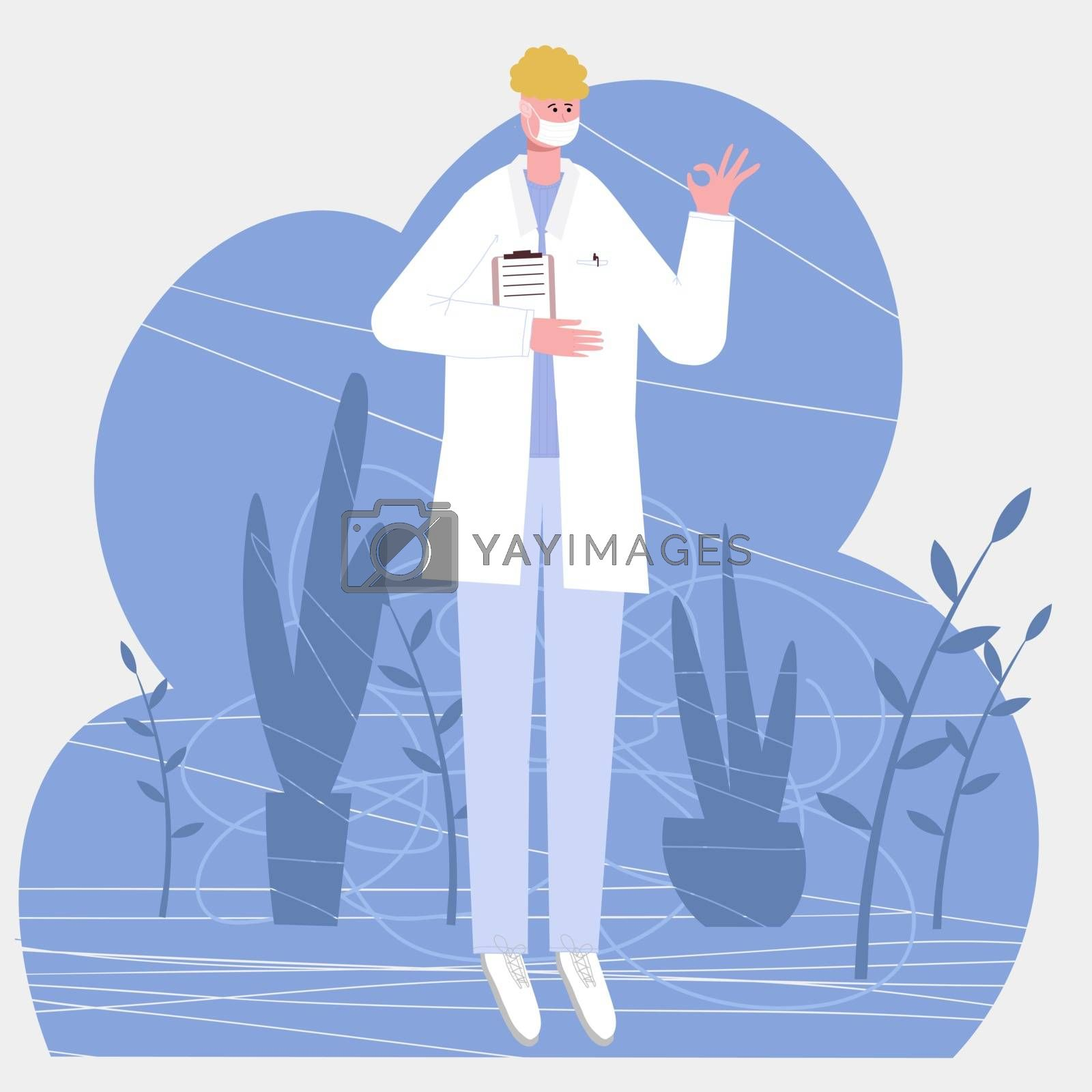 european male doctor shows with a gesture that everything is all right, isolated on white background vector illustration in a flat style for web pages and mailings. by zaryov