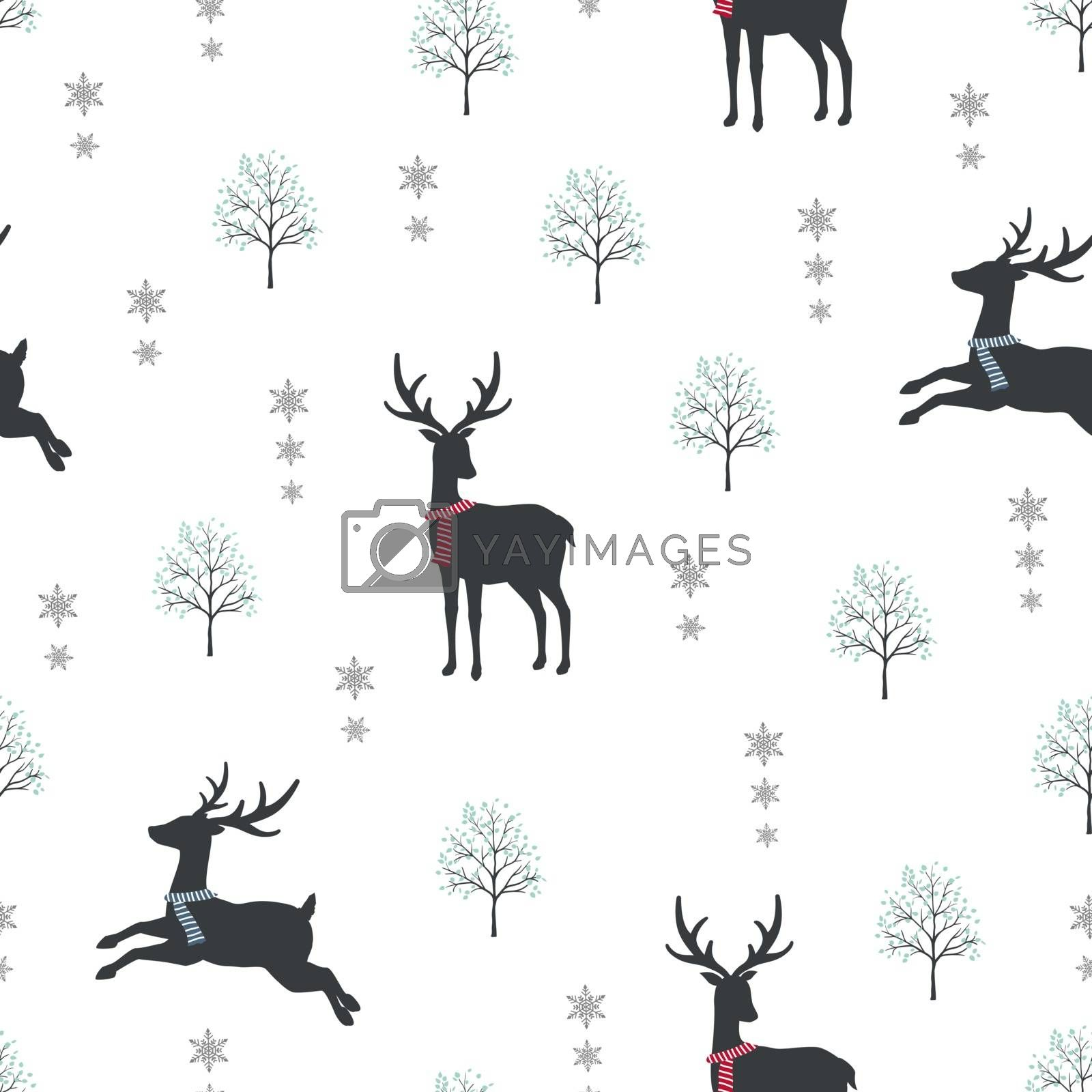 Cute deer on winter snow seamless pattern,for decorative Christmas holiday,wrapping paper,baby clothes,textile or all print,vector illustration