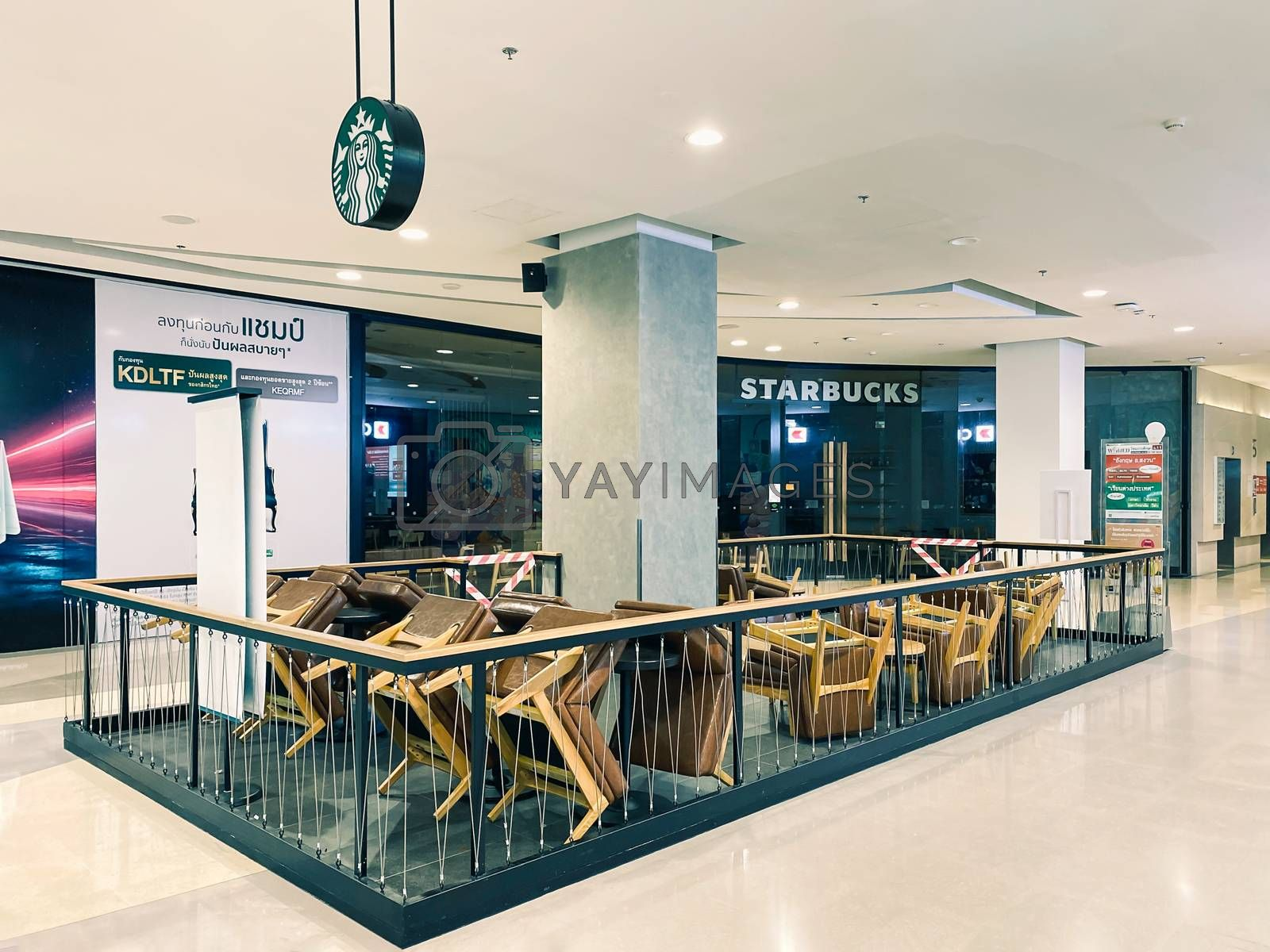 Starbucks coffee in shopping mall in Bangkok closed during COVID-19 situation. Starbucks is temporarily shuttering many shops because of the coronavirus pandemic