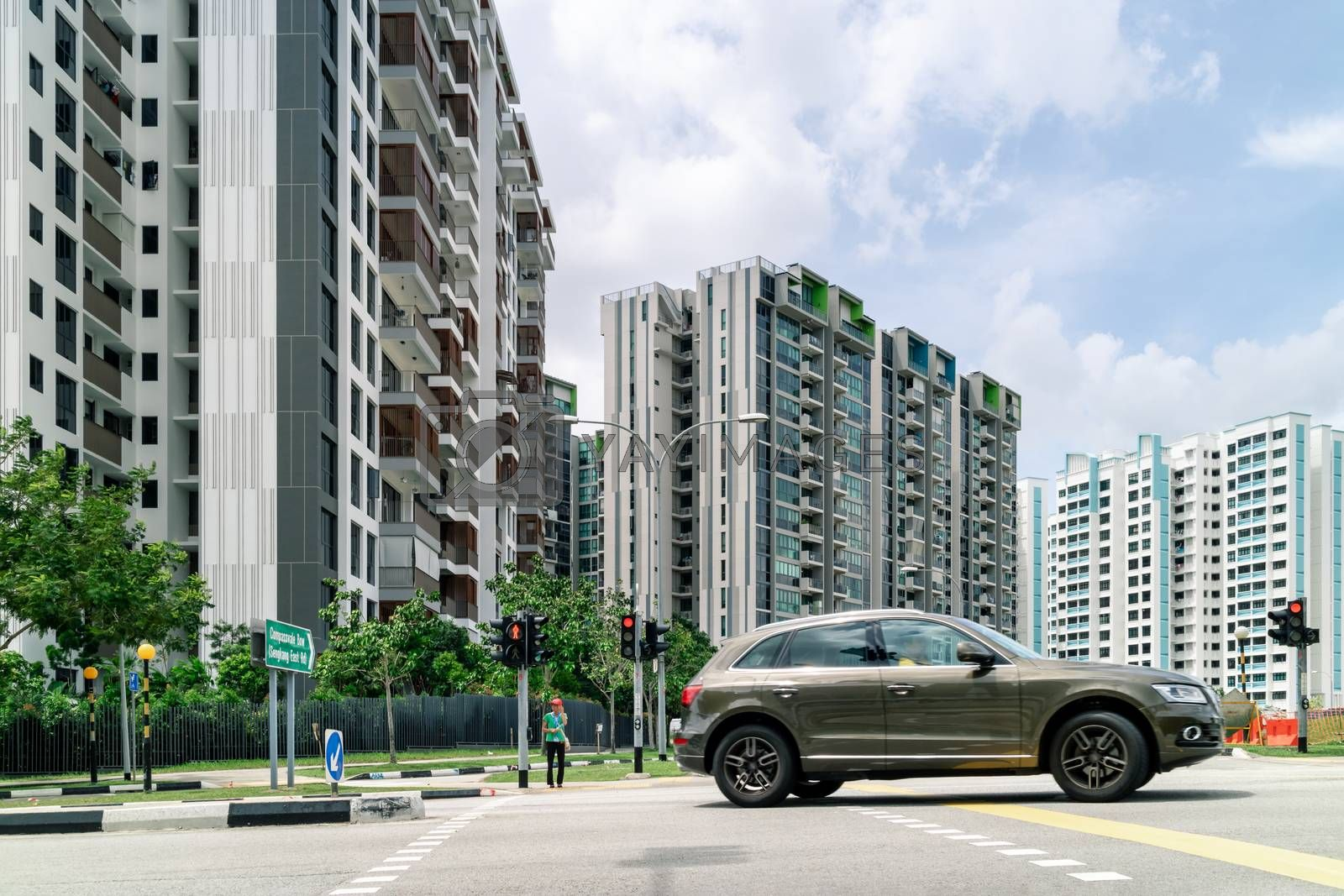 Singapore Public Housing Apartments in Punggol District, Singapore. Housing Development Board(HDB), low-rise condominium. Punggol is planning area & new town in North-East