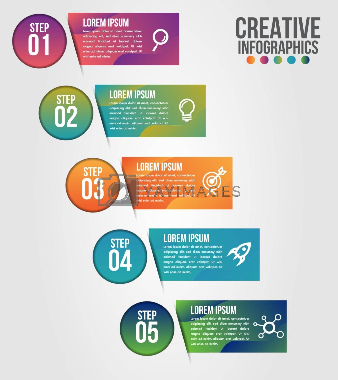 Business infographics 5 step options vector illustration and design template with road timeline.Can be used for communication connect, workflow layout, banner, diagram, number, web design.