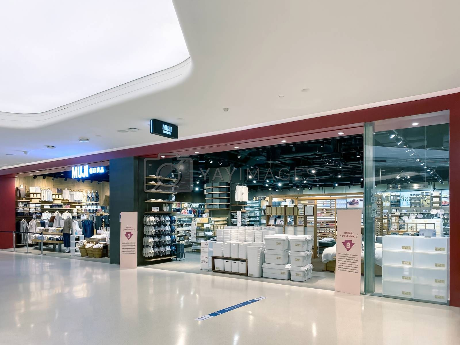 Muji store at Central Embassy, Bangkok, Japanese retail company sells household and consumer goods with pandemic influenza precautions procedure during Covid-19