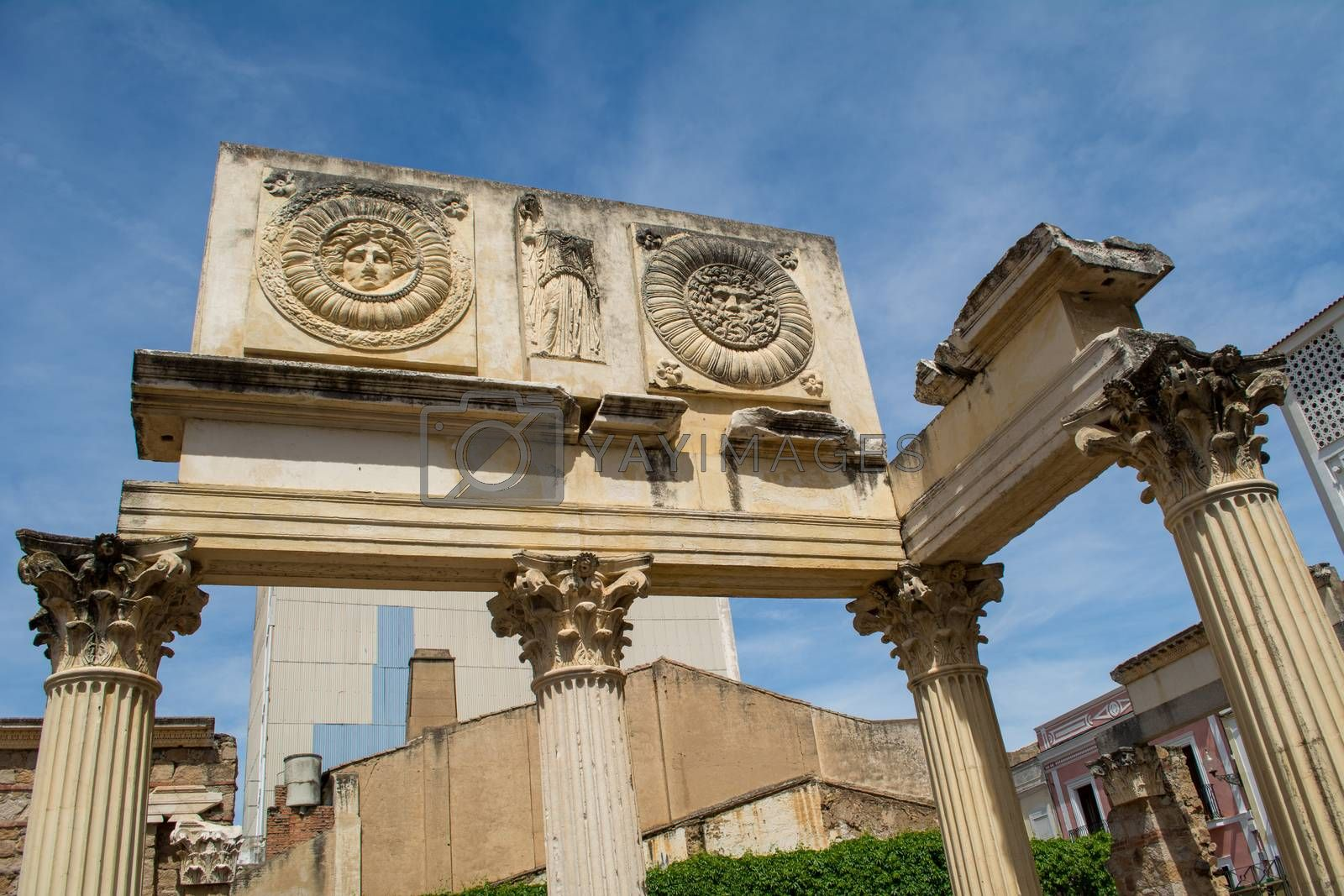 Merida, Spain, April 2017: Portico del Foro Municipal de Augusta Emerita. Roman ruins in Merida, Extremadura, Spain.