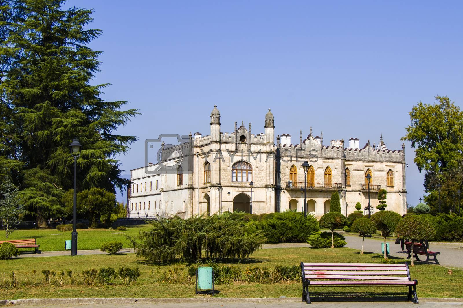 Dadiani palace in Zugdidi, Georgia. Daytime and sunlight