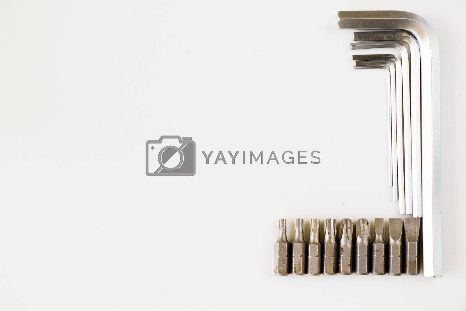 Power tools heads set and kit on the white background