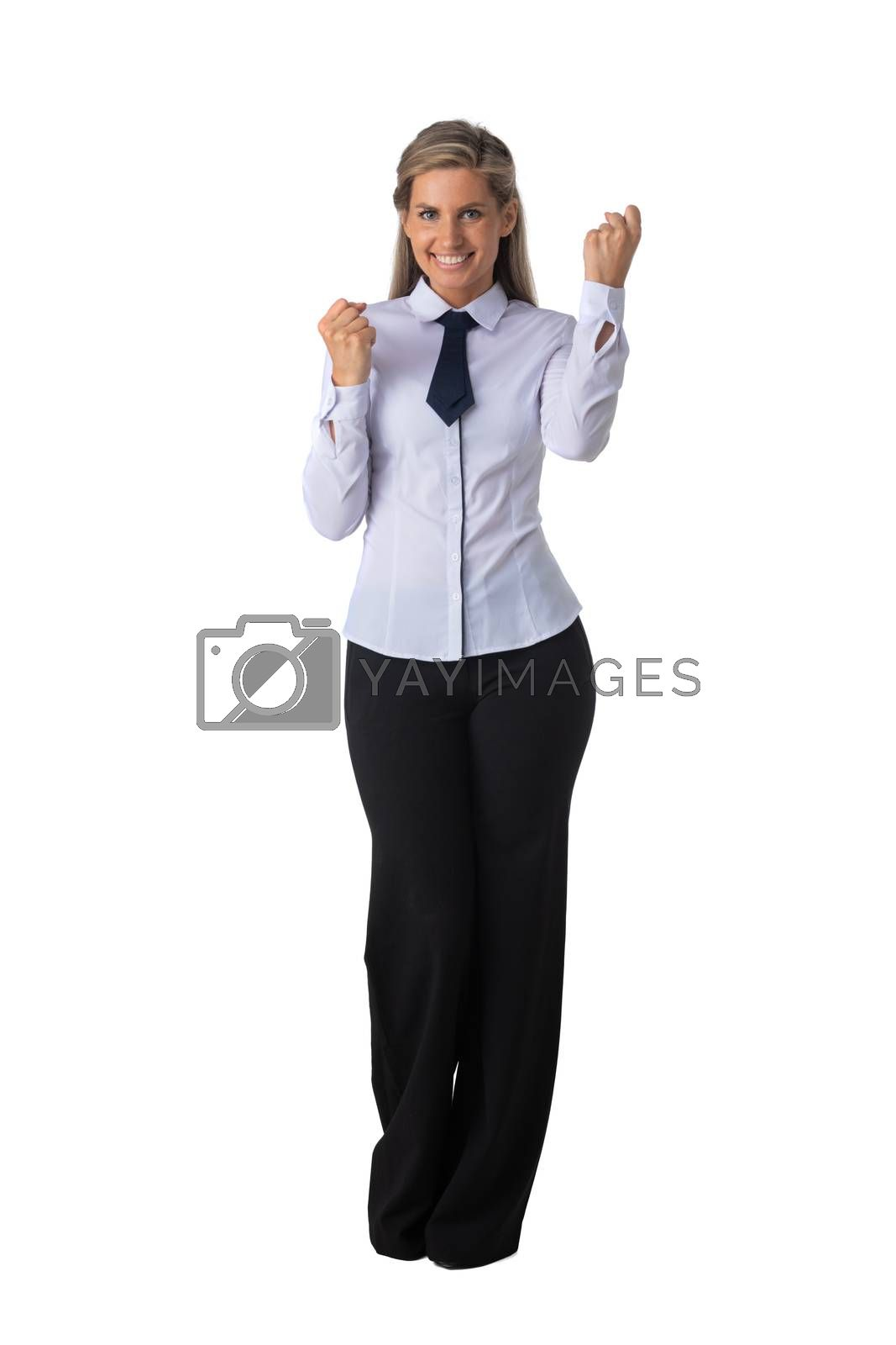 Young business woman winner holding fists isolated on white background full length studio portrait