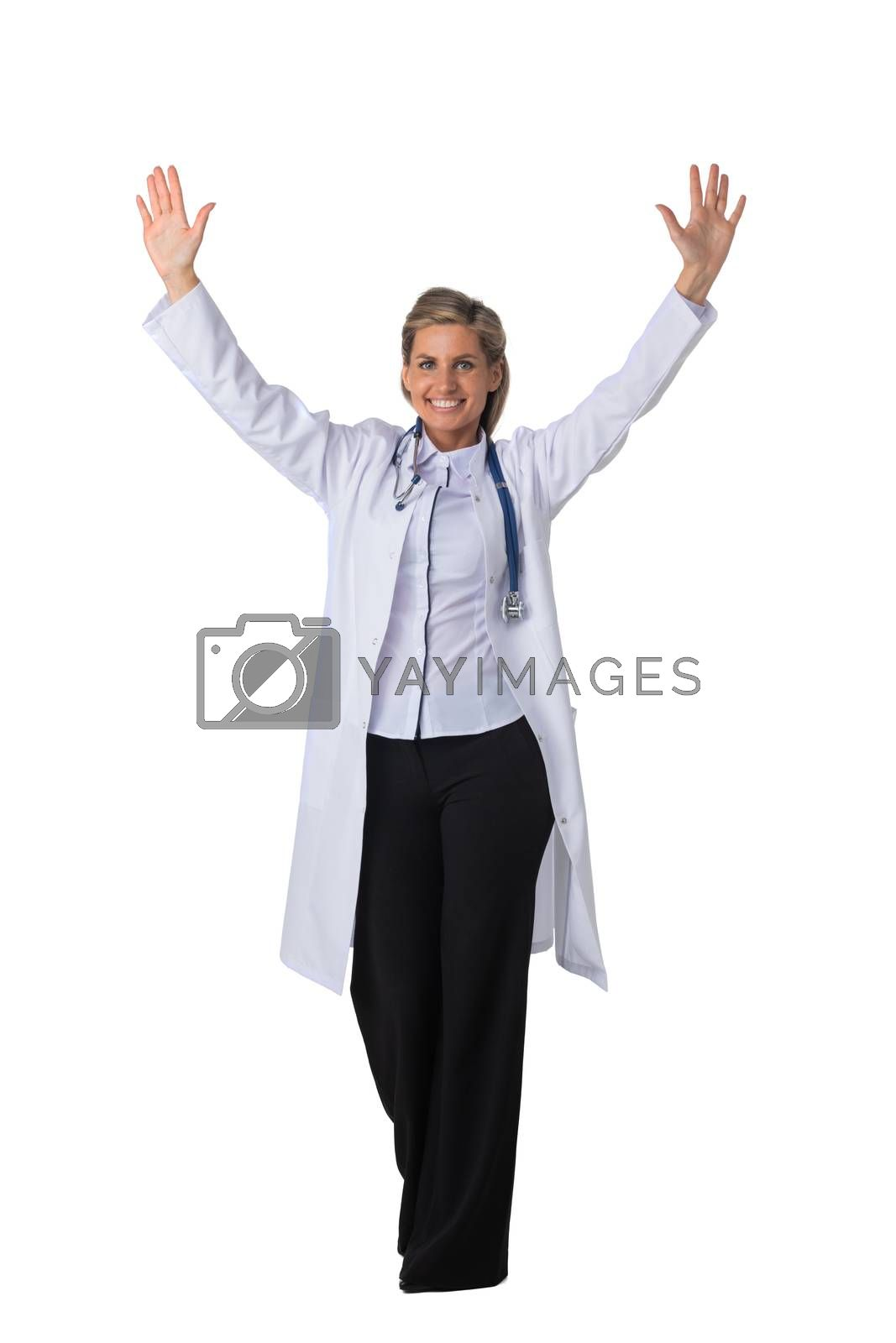 Young female medical doctor with stethoscope with raised arms isolated on white background full length studio portrait