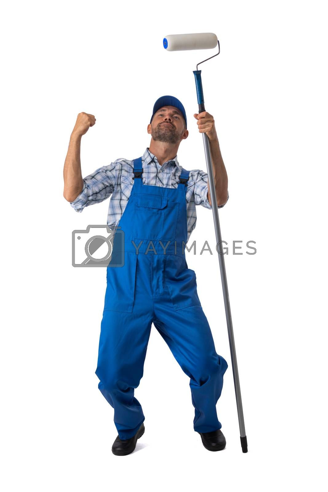 Male house painter with paint roller brush with raised arms isolated on white background full length studio portrait