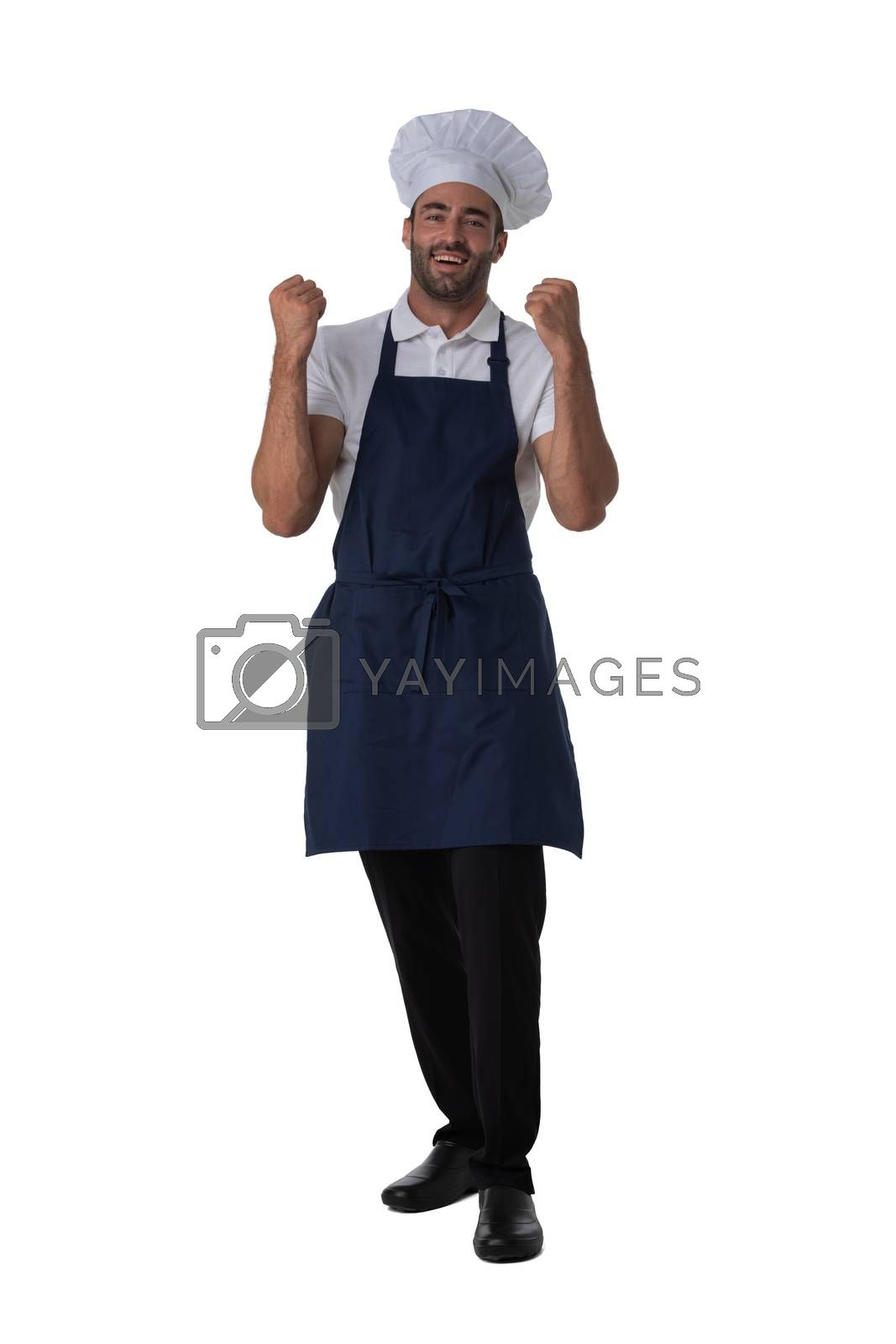 Male cook in apron and hat holding fists isolated on white background full length studio portrait