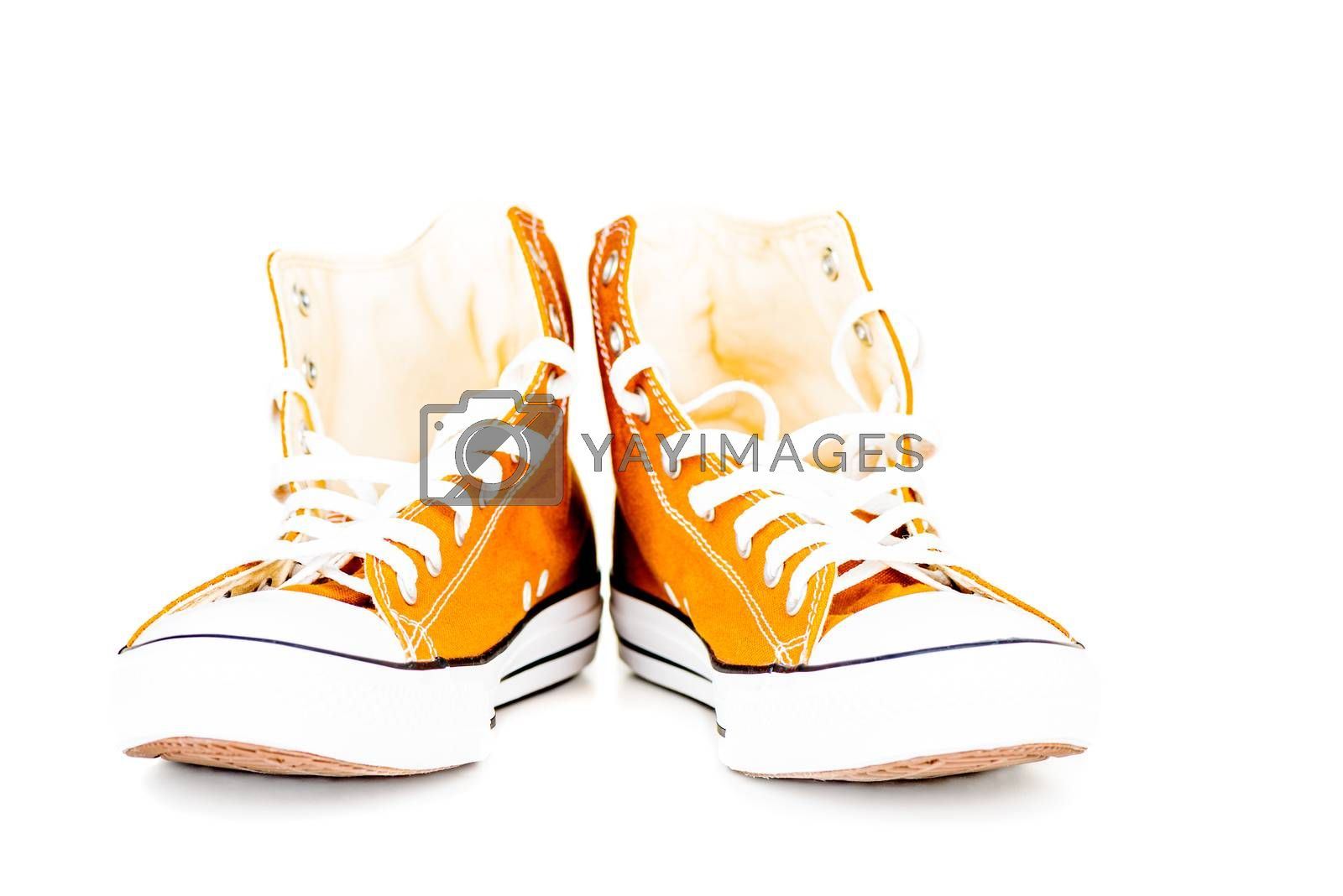 Pair of sports shoes isolated on white background