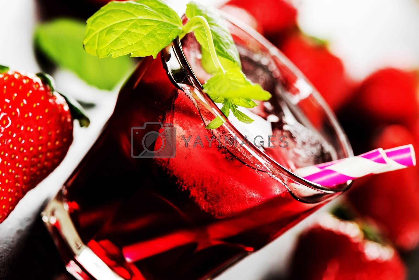 Refreshing summer drink with Strawberry in glass