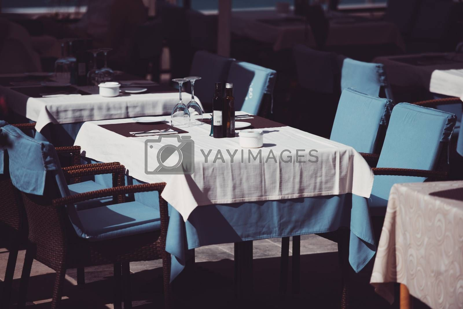 Empty tables at restaurant in Tenerife, Spain