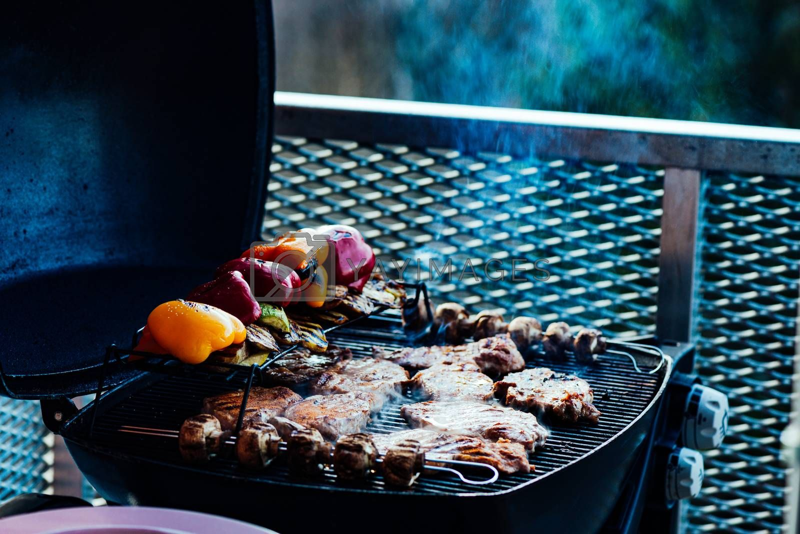 Assorted vegetables and meat cooking on a grill