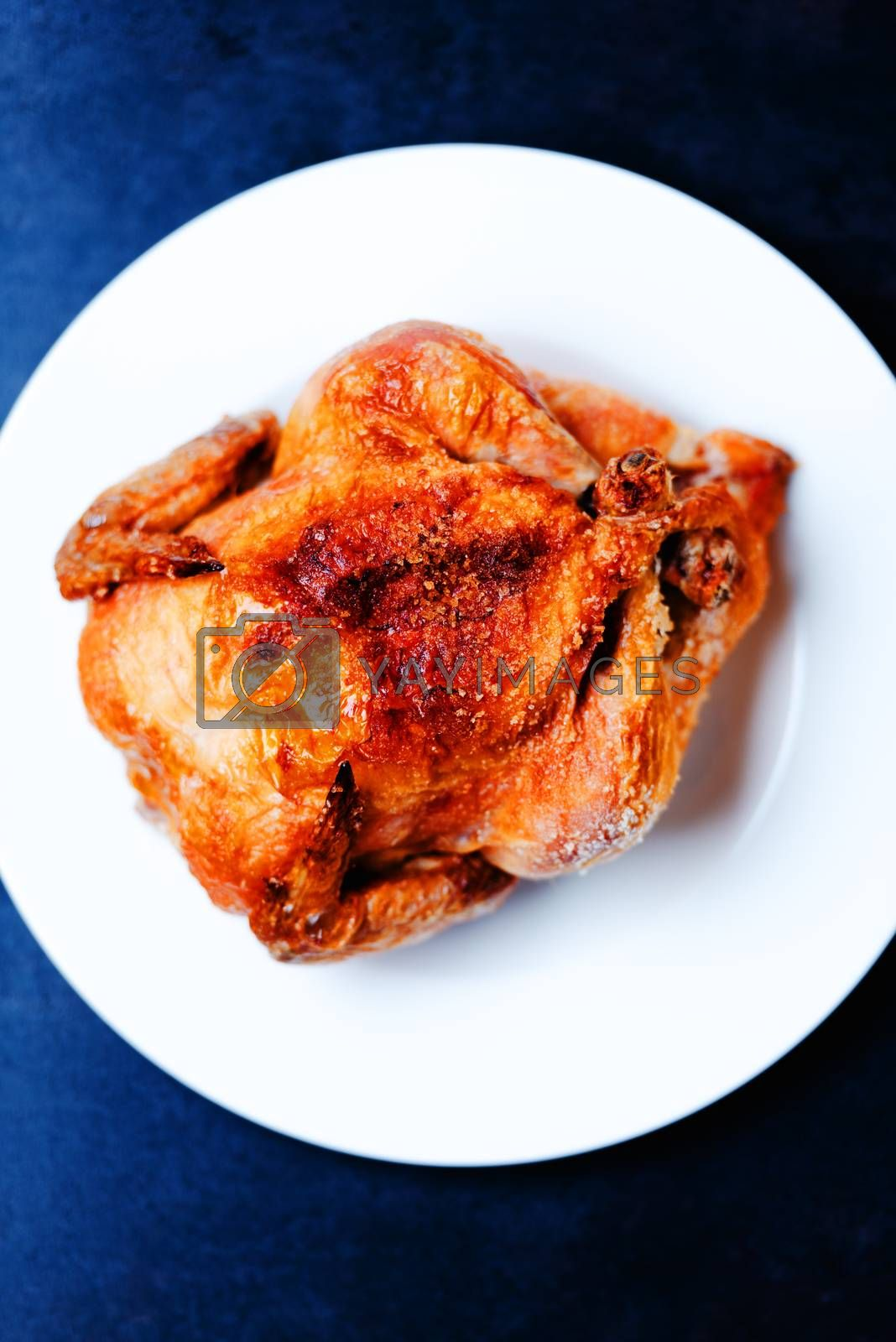 Whole oven roasted chicken on white plate
