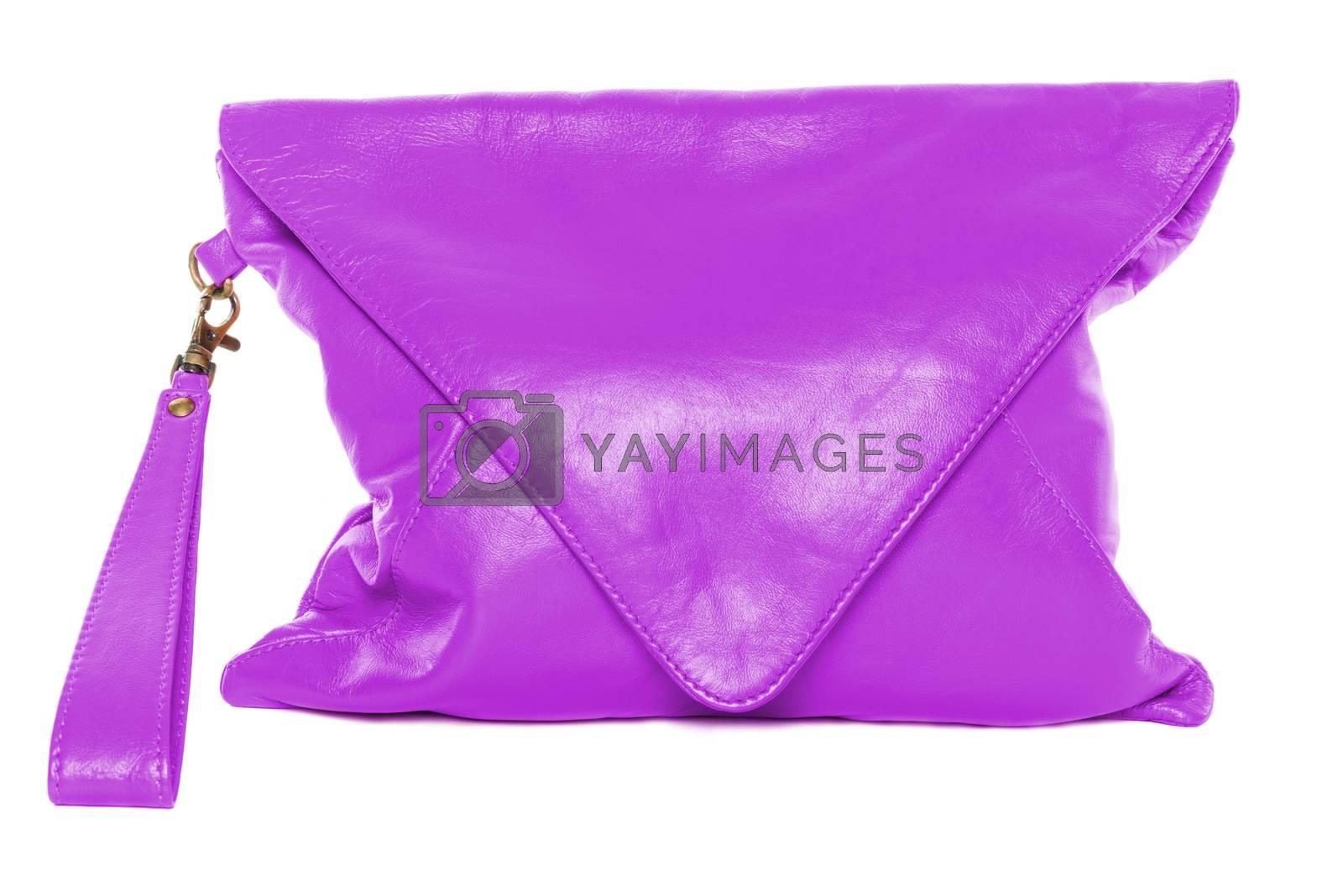 Fuchsia colour woman bag isolated on white background