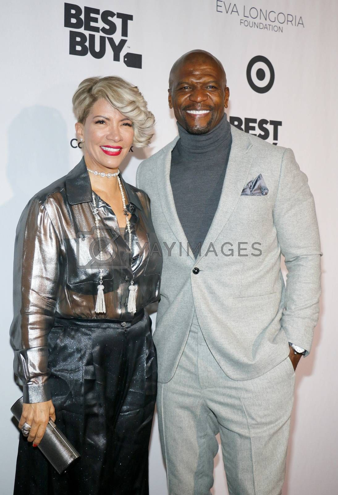 Terry Crews and Rebecca Crews at the Eva Longoria Foundation Dinner Gala held at the Four Seasons Hotel in Beverly Hills, USA on November 8, 2018.
