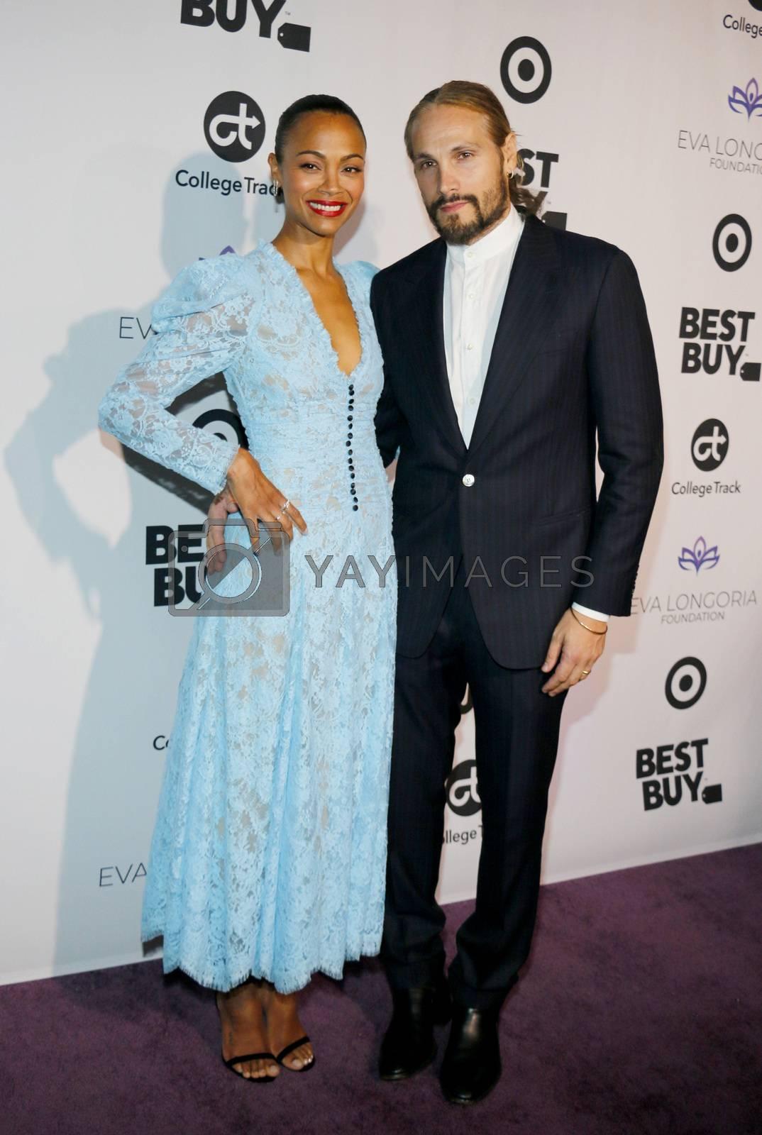 Zoe Saldana and Marco Perego Saldana at the Eva Longoria Foundation Dinner Gala held at the Four Seasons Hotel in Beverly Hills, USA on November 8, 2018.