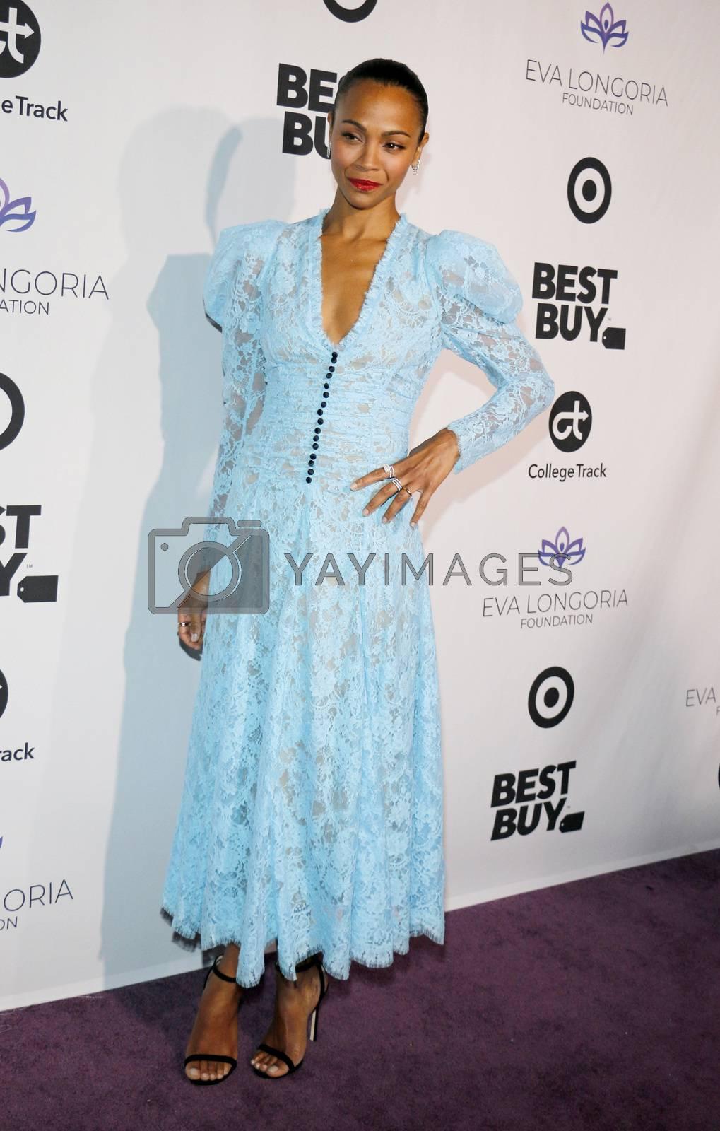Zoe Saldana at the Eva Longoria Foundation Dinner Gala held at the Four Seasons Hotel in Beverly Hills, USA on November 8, 2018.
