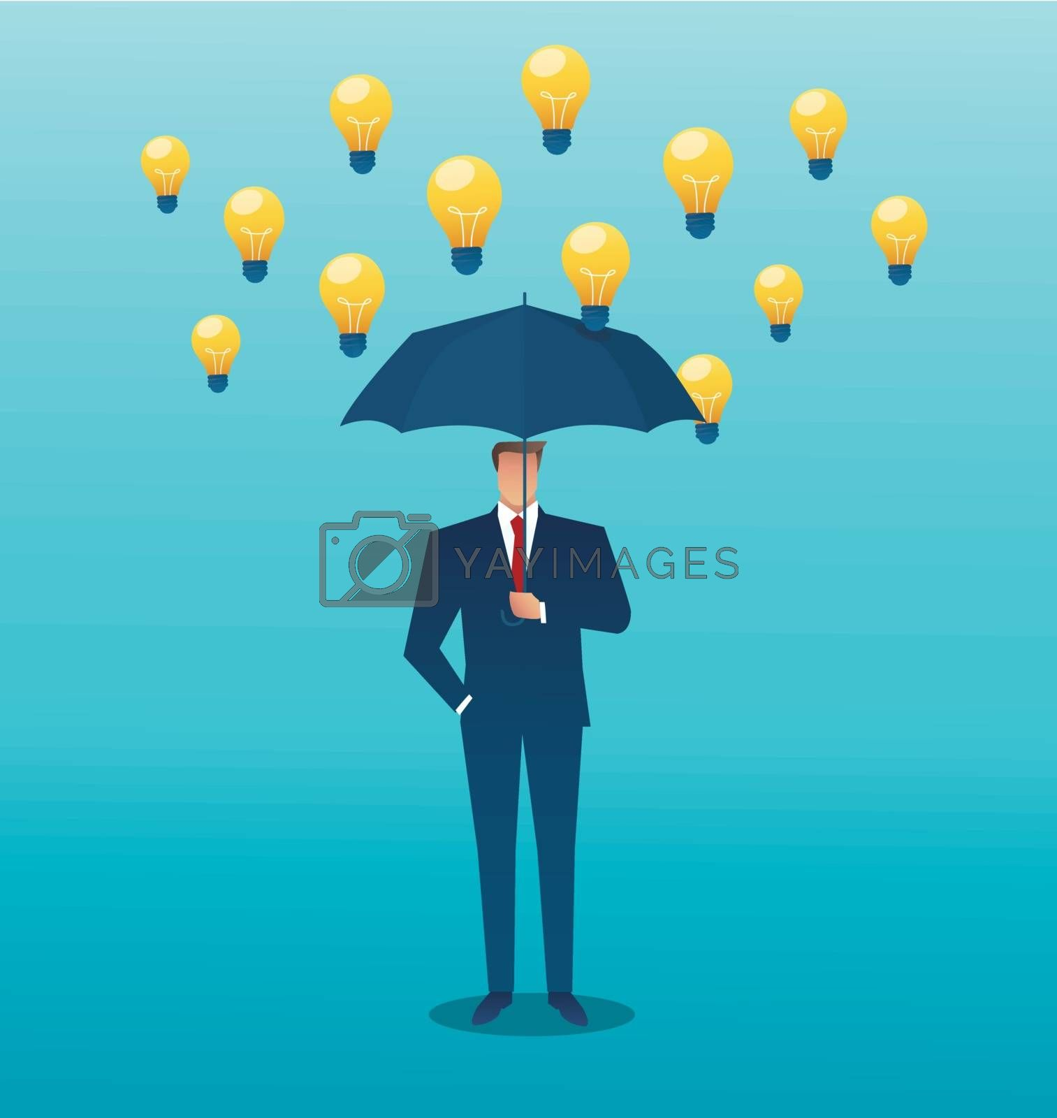 man holding an umbrella and light bulb falling from the sky. creative concept. vector illustration
