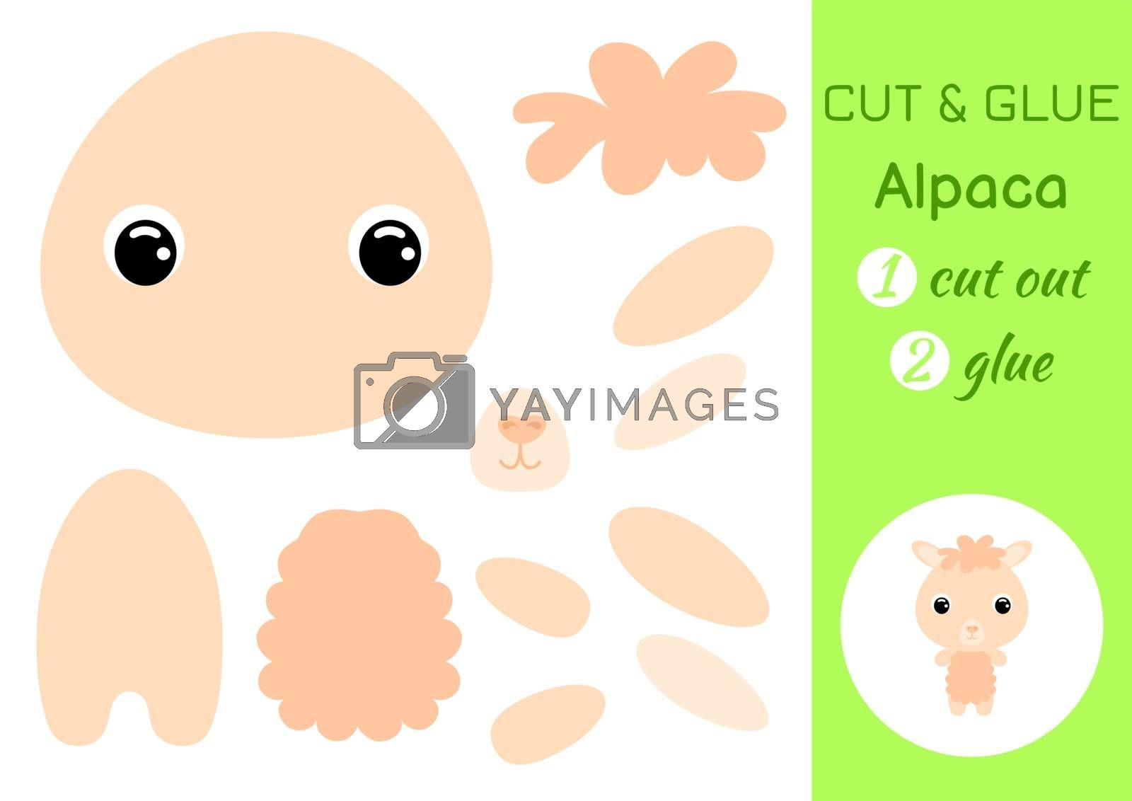 Cut and glue baby alpaca. Education developing worksheet. Color paper game for preschool children. Cut parts of image and glue on paper. Cartoon character. Colorful vector stock illustration.