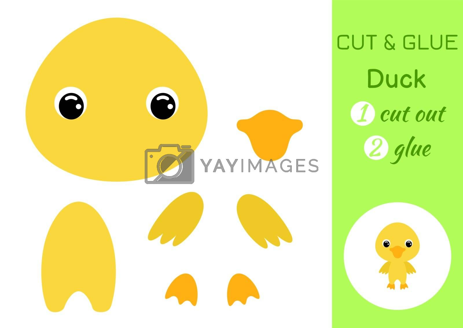 Cut and glue baby duck. Education developing worksheet. Color paper game for preschool children. Cut parts of image and glue on paper. Cartoon character. Colorful vector stock illustration.