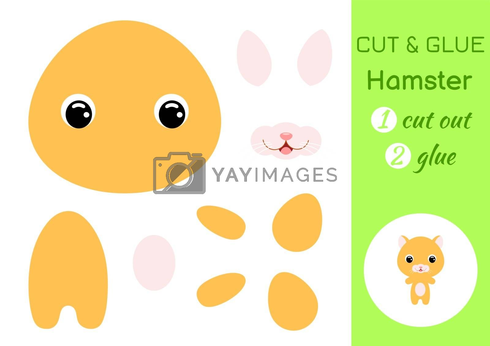 Cut and glue baby hamster. Education developing worksheet. Color paper game for preschool children. Cut parts of image and glue on paper. Cartoon character. Colorful vector stock illustration.