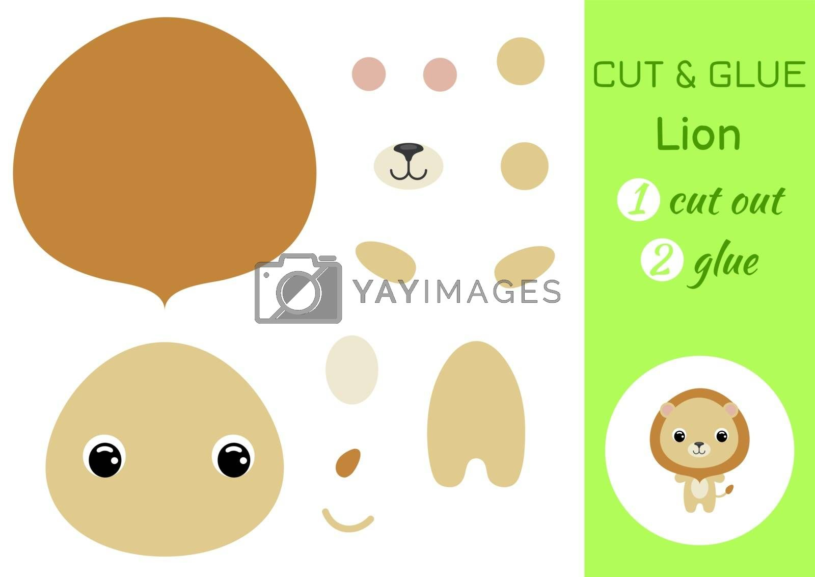 Cut and glue baby lion. Education developing worksheet. Color paper game for preschool children. Cut parts of image and glue on paper. Cartoon character. Colorful vector stock illustration.