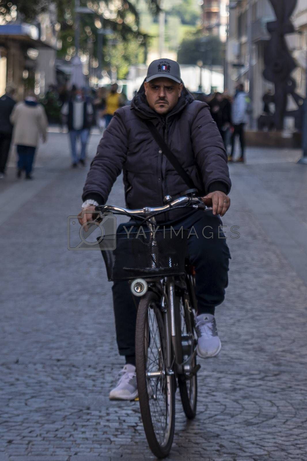terni,italy october 21 2020:man on bicycle in city center