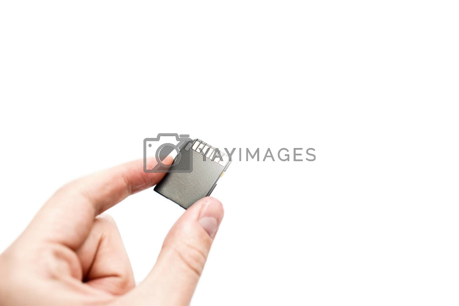 sd card in hand isolated on white background. information concept