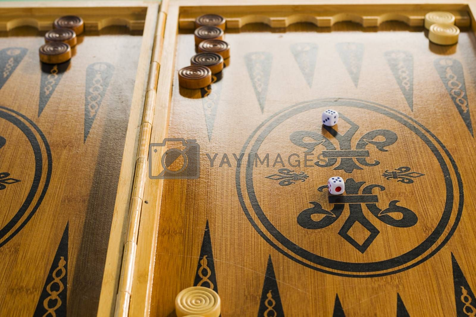 Backgammon close-up, board game.