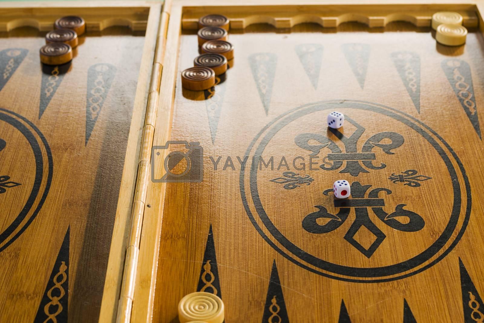 Backgammon close-up, board game.