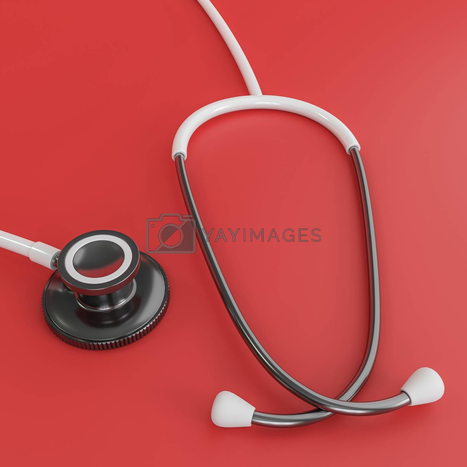 white stethoscope isolated on red background 3d illustration