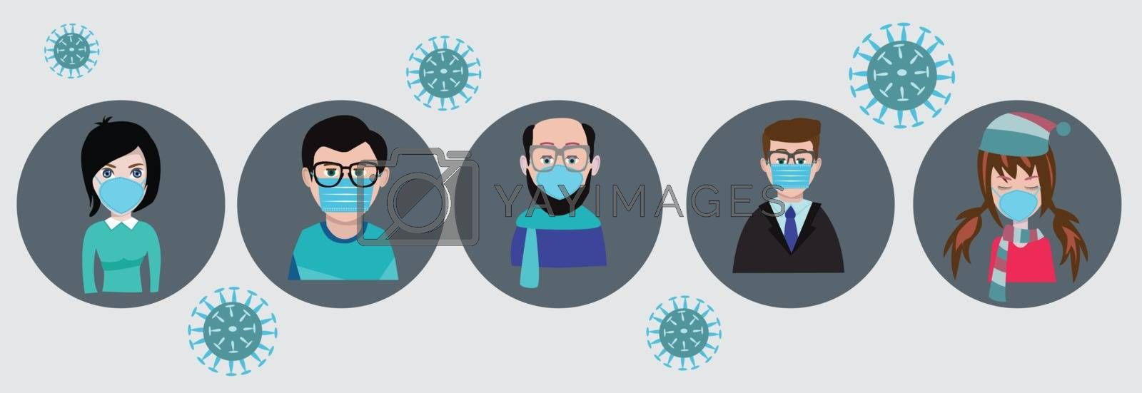 People wearing face mask, surgical mask to prevent disease, flu, gas mask. Coronavirus. Vector illustration in a flat style.