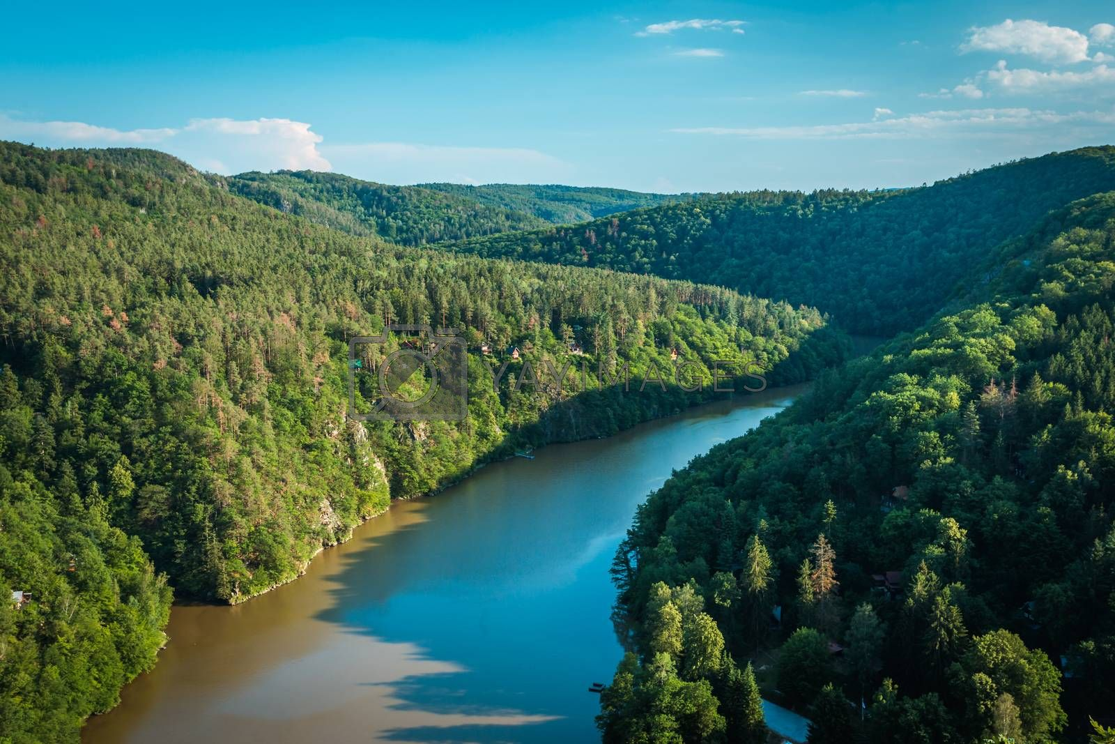Royalty free image of Summer landscape - South Bohemian countryside. River Vltava in late summer time. Czech republic. by petrsvoboda91