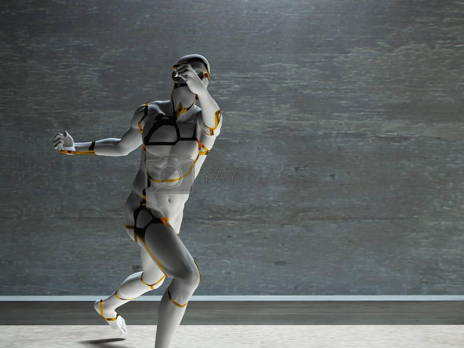 Figure of man in motion. 3D rendering