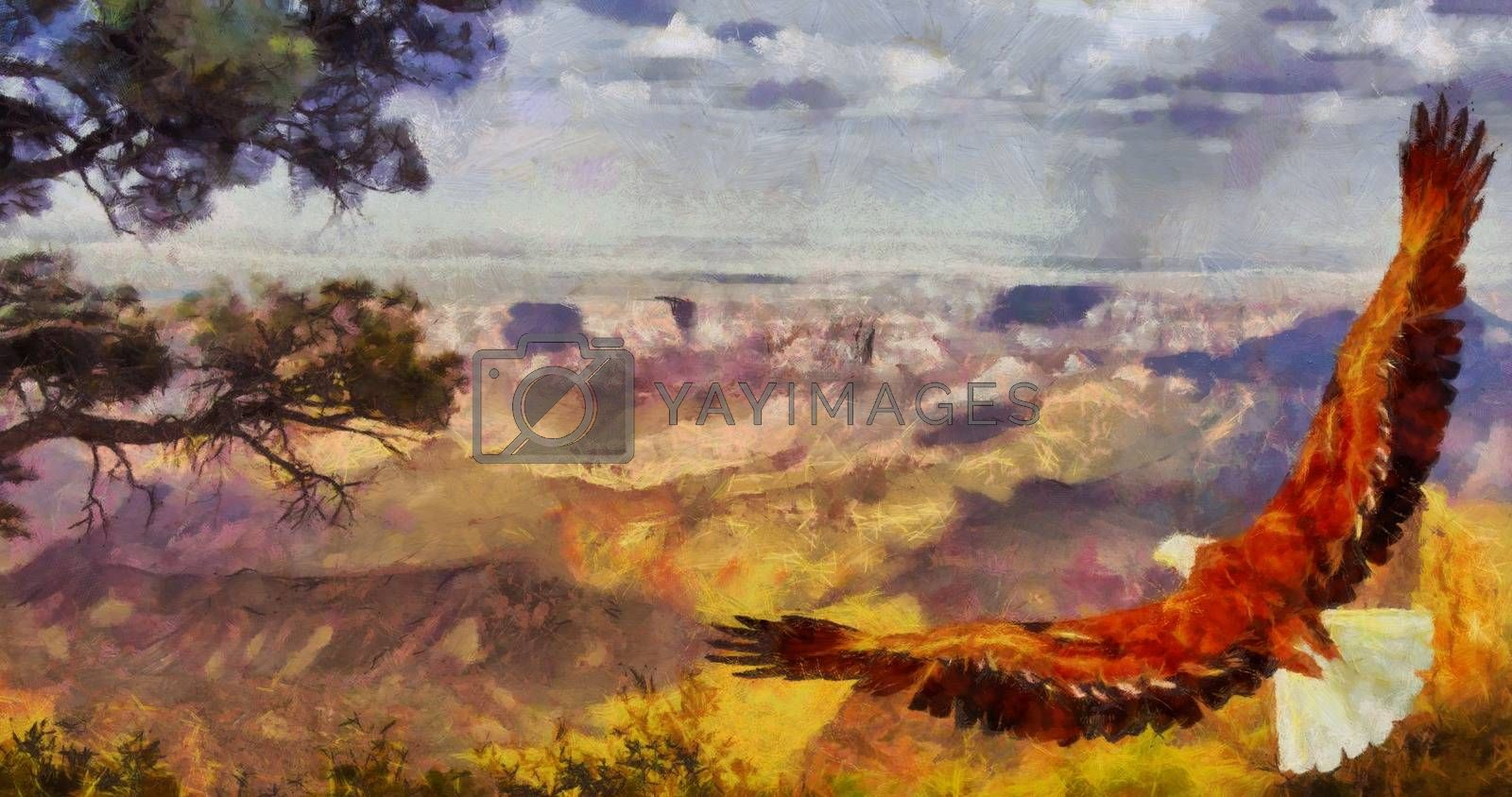 Eagle soars over Grand Canyon. 3D rendering