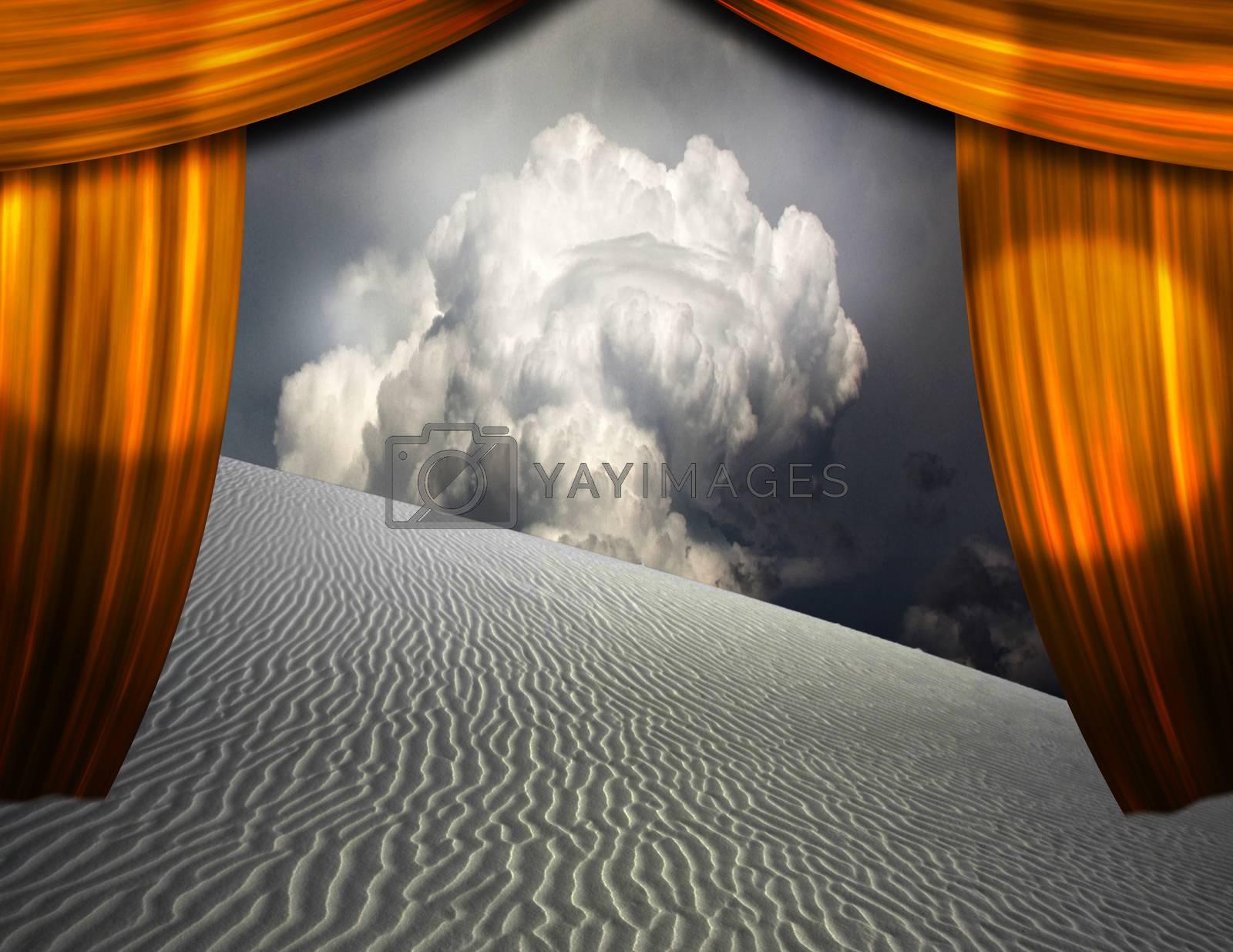 Desert sands seen through opening in curtains. 3D rendering
