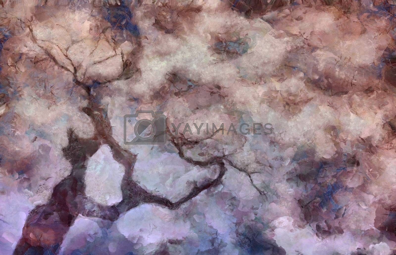Old tree branches. Abstract painting. 3D rendering