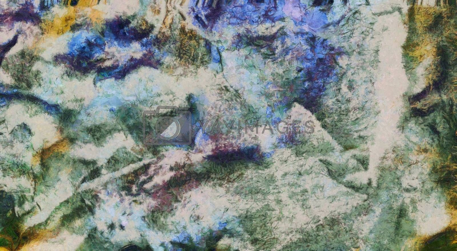 Abstract painting in muted colors. 3D rendering